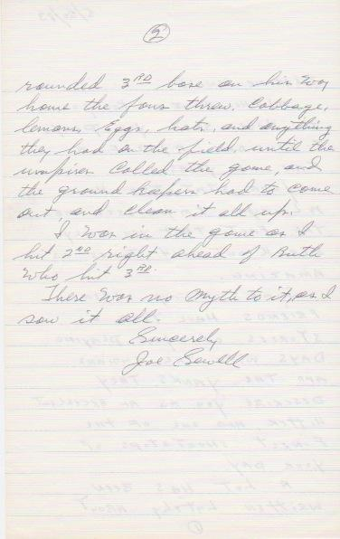 Page two of Sewell's handwritten letter about the Called Shot