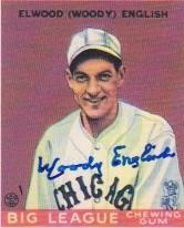 Autographed Goudey reprint depicting Woody English in 1932