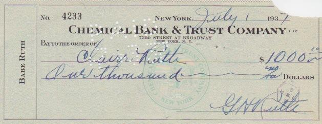 Babe Ruth signed personal check -- Bill Carrigan was his first MLB manager
