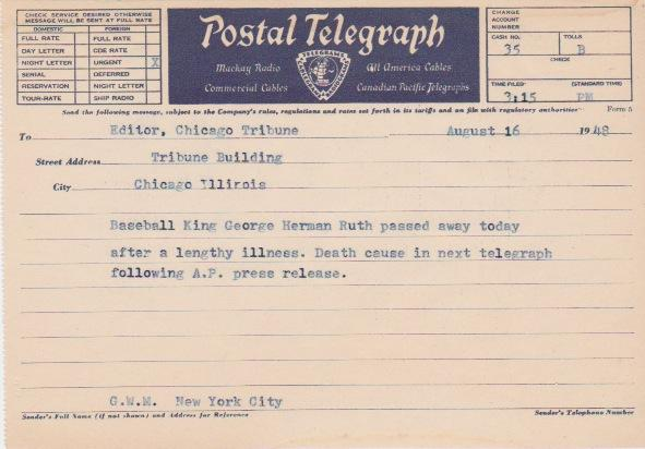 Actual telegram announcing Babe Ruth's death