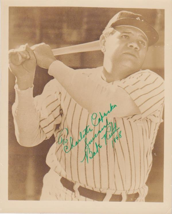 Photo signed by Babe Ruth in the year of his death
