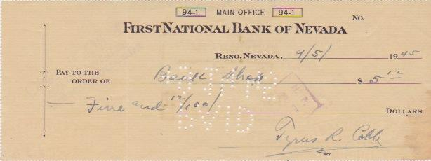 Ty Cobb's personal check, one of the first autographs in the collection
