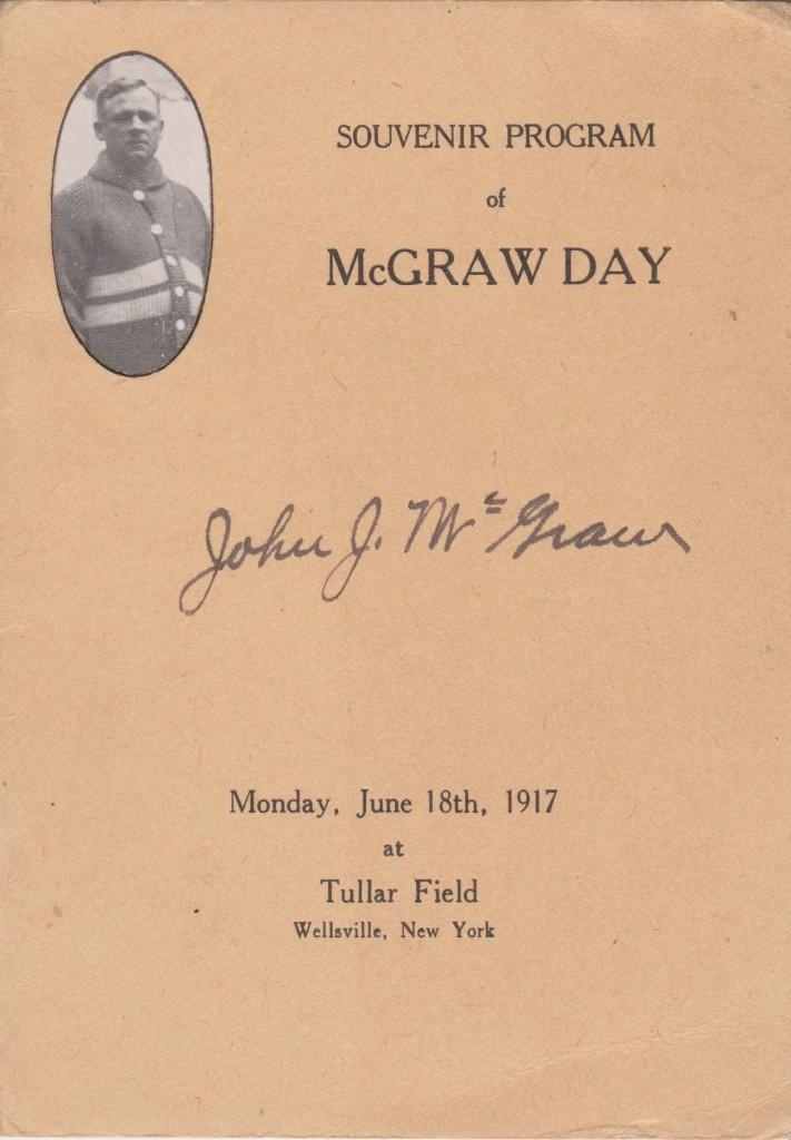 Program from McGraw day, June 18, 1917