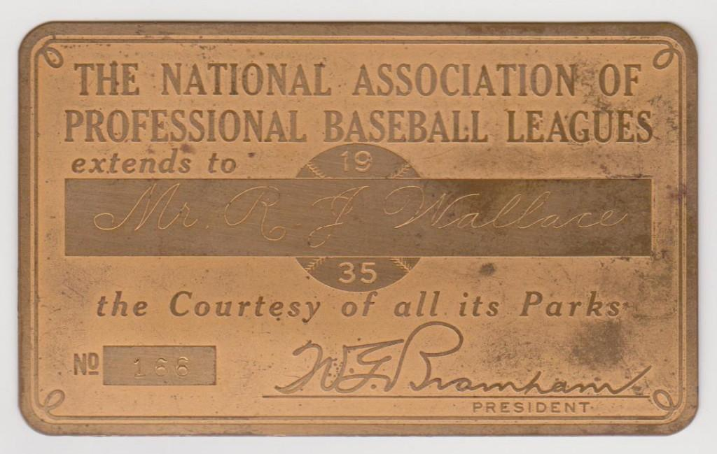 National Association of Professional Baseball Leagues lifetime pass issued to HoFer Bobby Wallace
