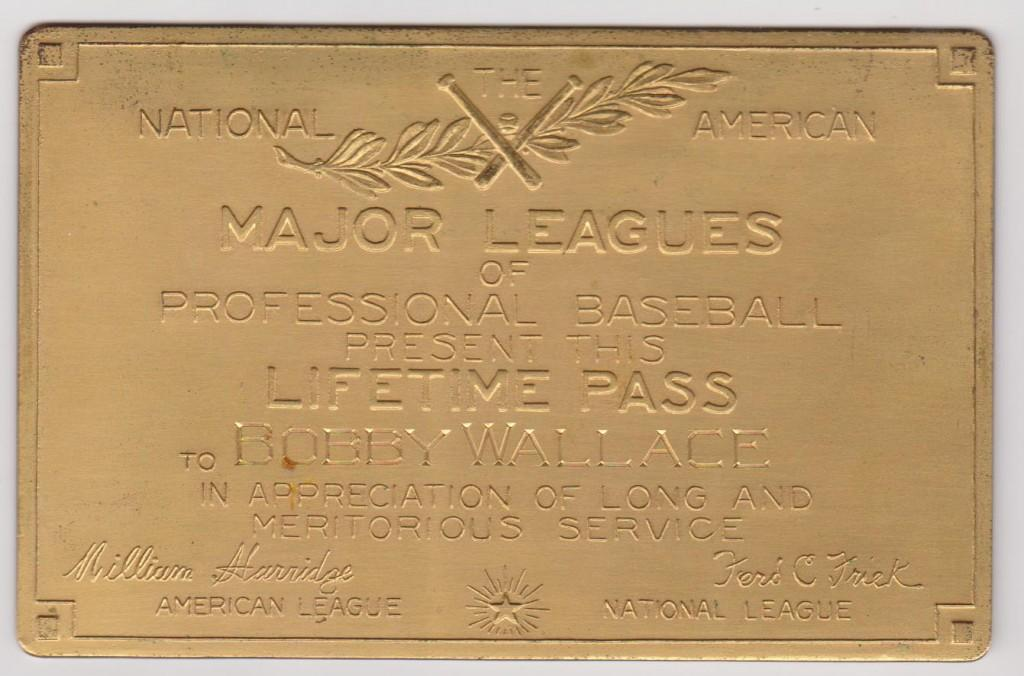 Bobby Wallace's solid gold MLB lifetime pass, one of only 17 initially issued by Ford Frick
