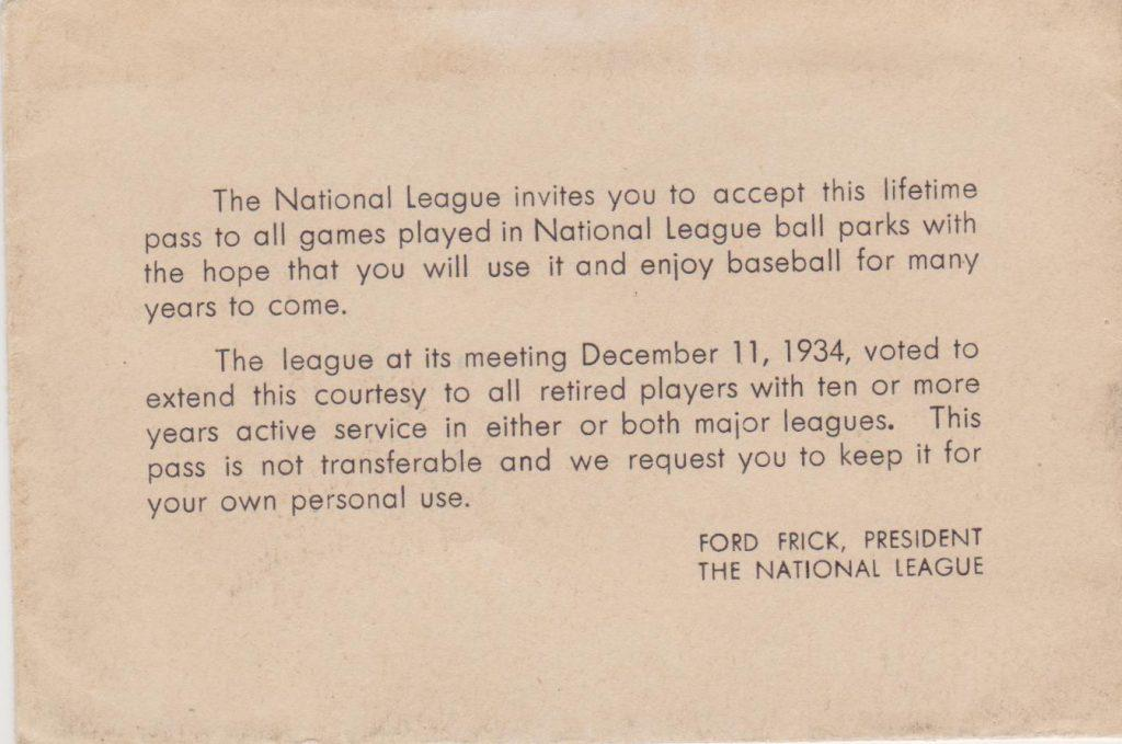 Letter sent to recipients of NL lifetime passes in early 1935