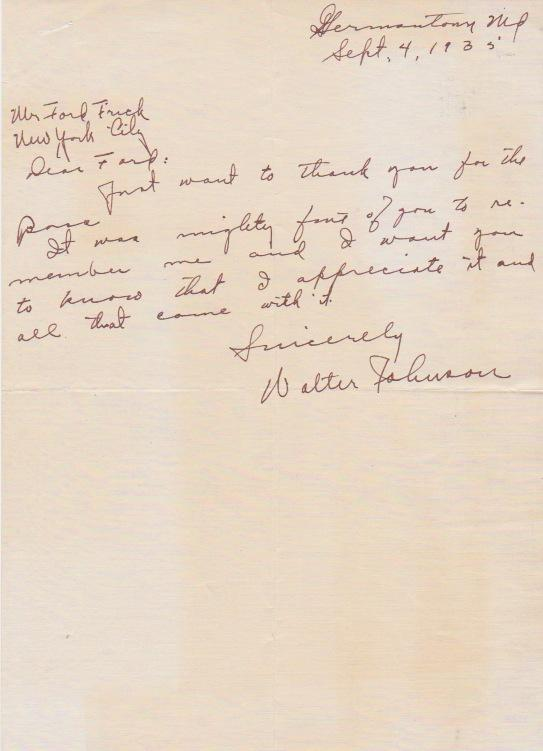 Walter Johnson handwritten letter to HoFer Ford Frick thanking him for the lifetime pass