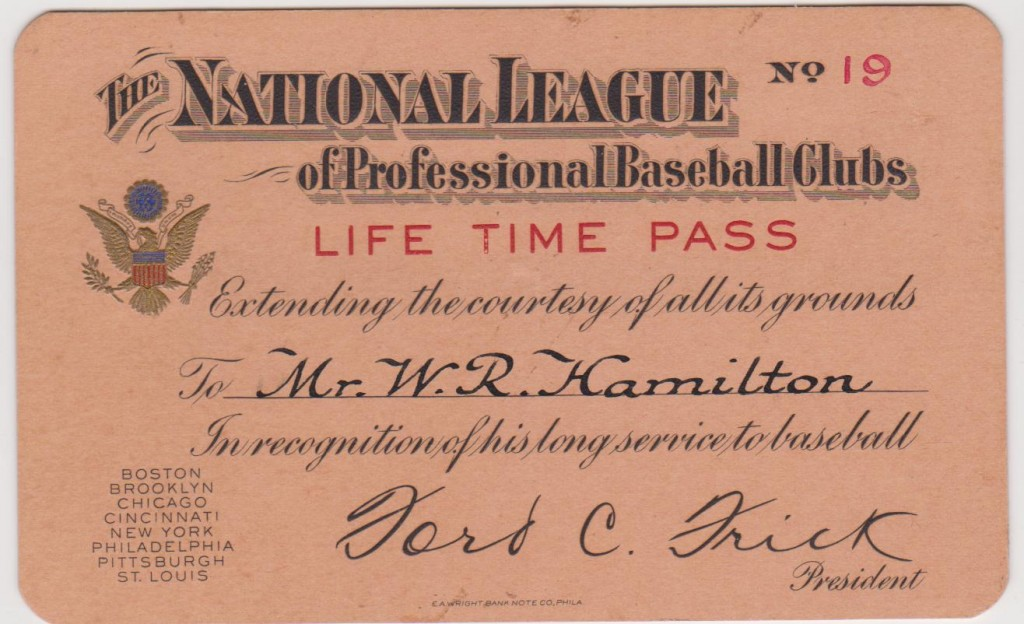 The 19th Lifetime Pass ever issued by Ford Frick and MLB, this one to Sliding Billy Hamilton