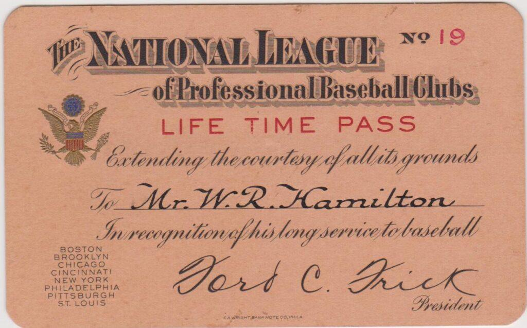 The first lifetime passes were made of paper and only good for NL games - here's one from 19th-century HoFer Billy Hamilton