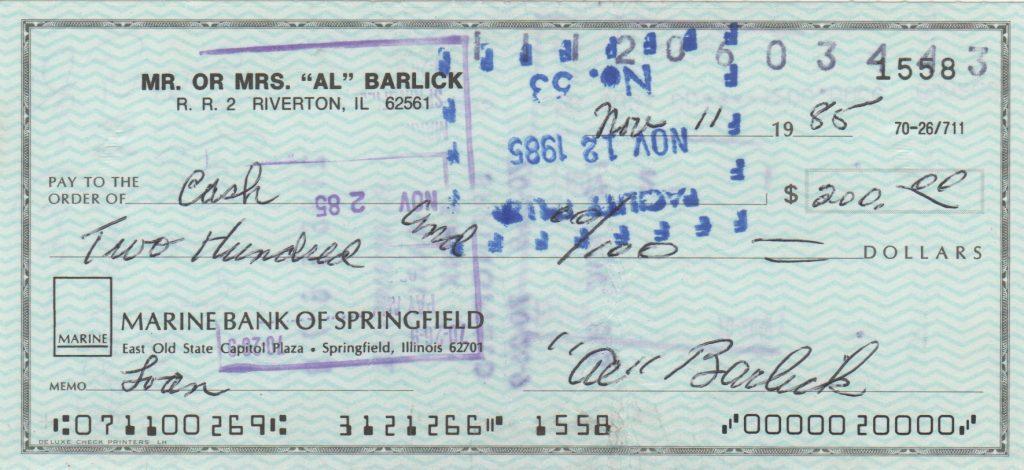 Al Barlick personal check