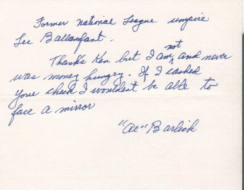 Al Barlick handwritten note