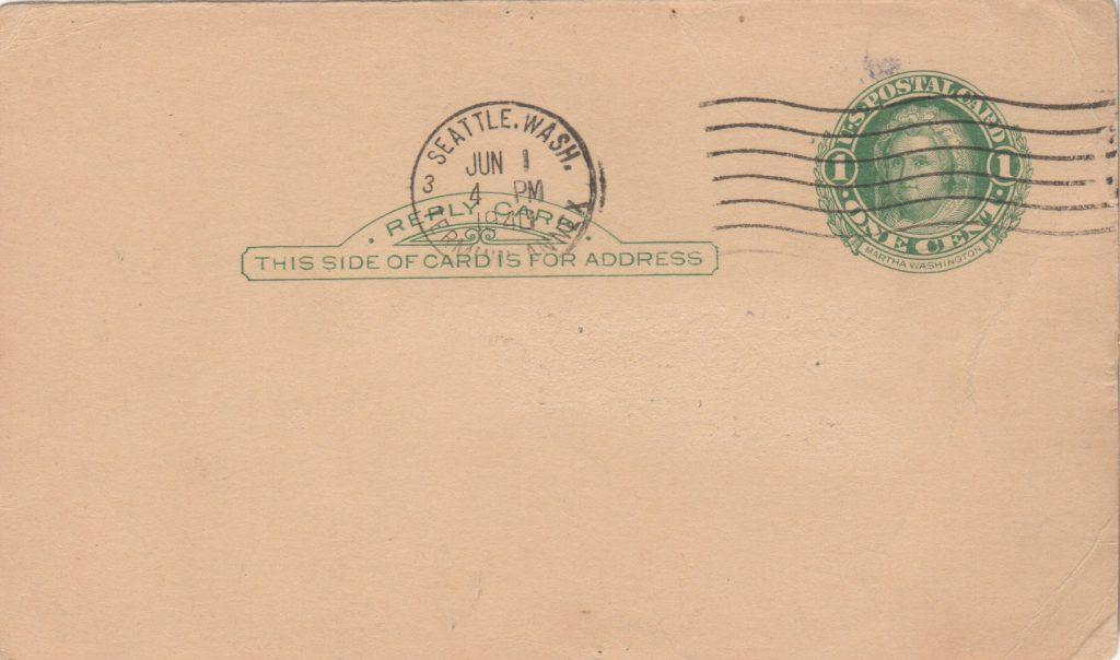 Reverse of Amos Rusie signed GPC with 6/1/1940 postmark