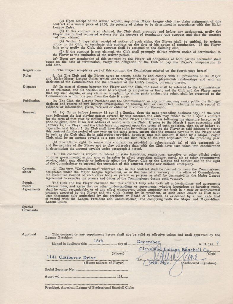 Page 3 of Lemon's 1958 player's contract