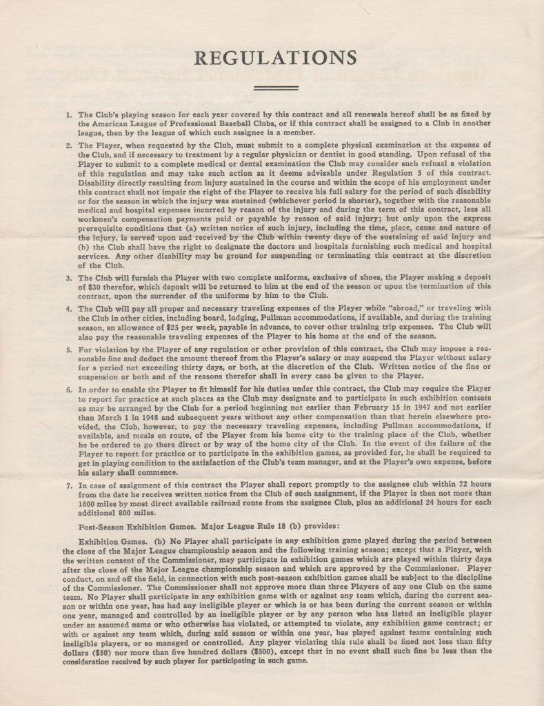 Page 4 of Lemon's 1958 player's contract