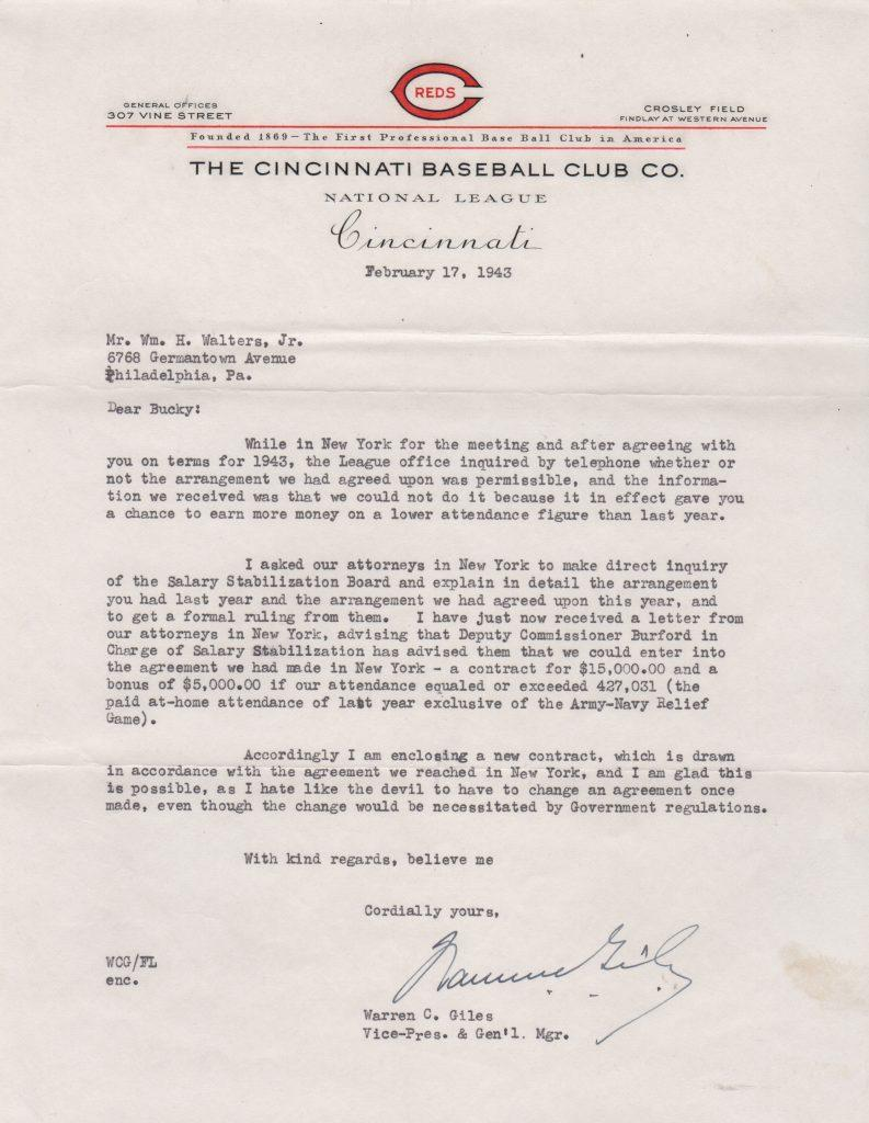 As Reds GM, Warren Giles writes to Bucky Walters re: contracts