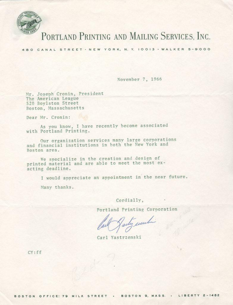 Yaz writes to AL chief Joe Cronin about off season job in 1966