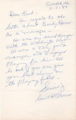 Cecil Travis handwritten letter about Bucky Harris