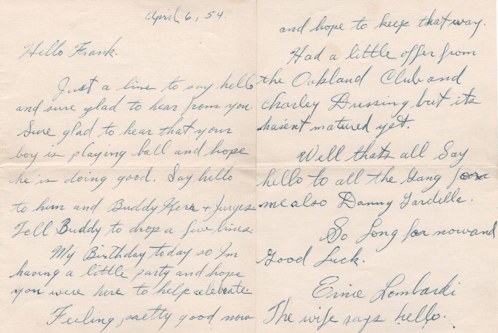 Handwritten letter on Lombardi's 46th birthday