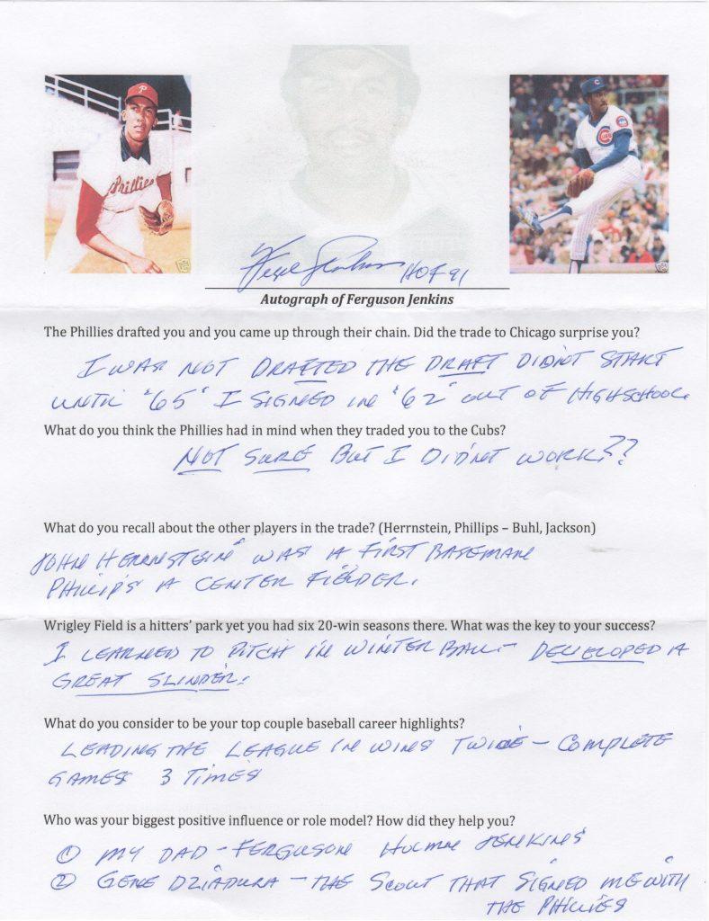 Fergie Jenkins signed questionnaire