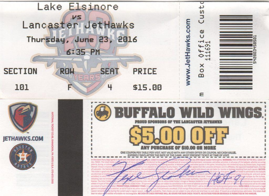 Fergie Jenkins signed ticket from his appearance