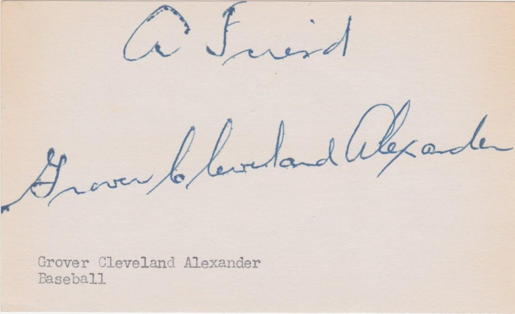 Solid signature of Hall of Fame pitcher Grover Cleveland Alexander