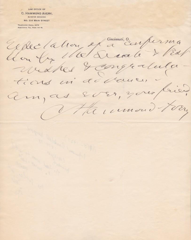 Page two with signature of Hammond Avery