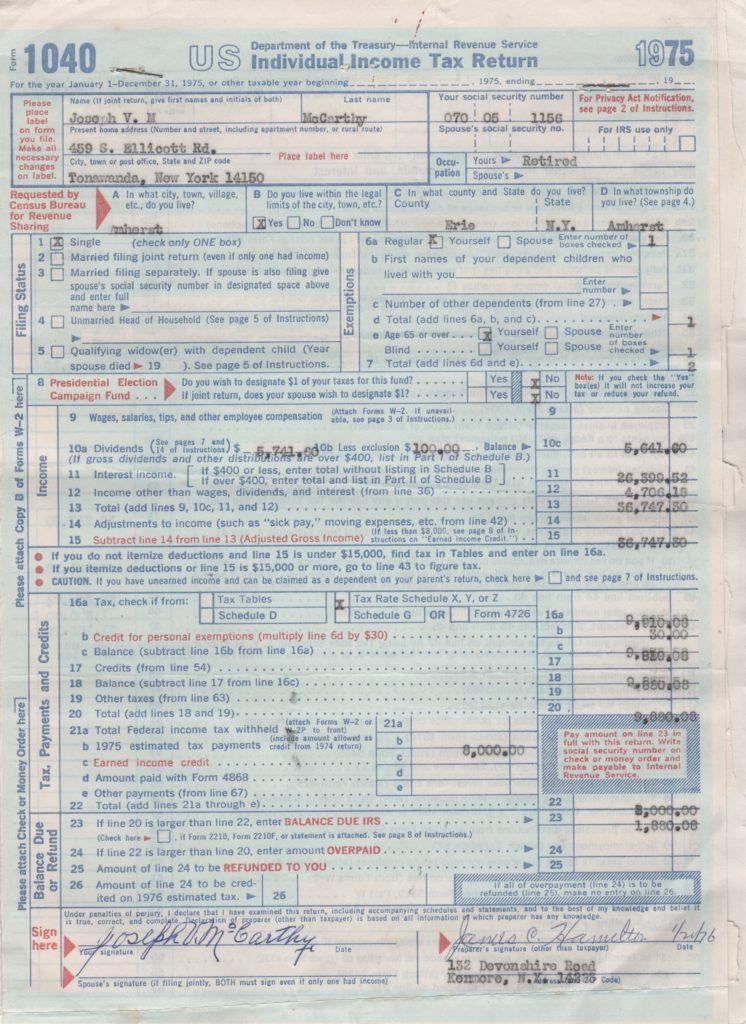 Joe McCarthy's signed income tax return
