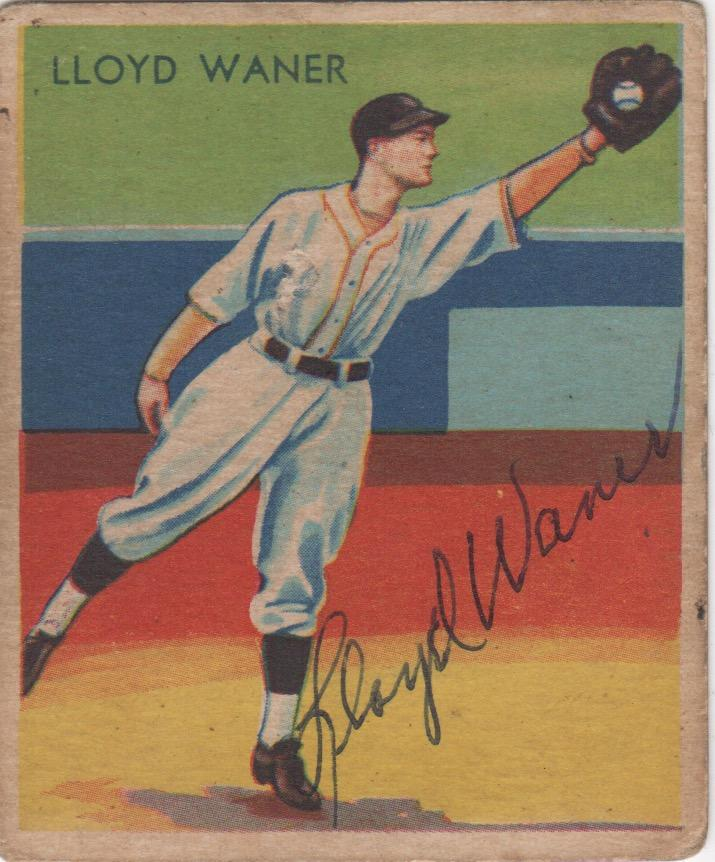 Autographed 1934-36 Lloyd Waner Diamond Star card