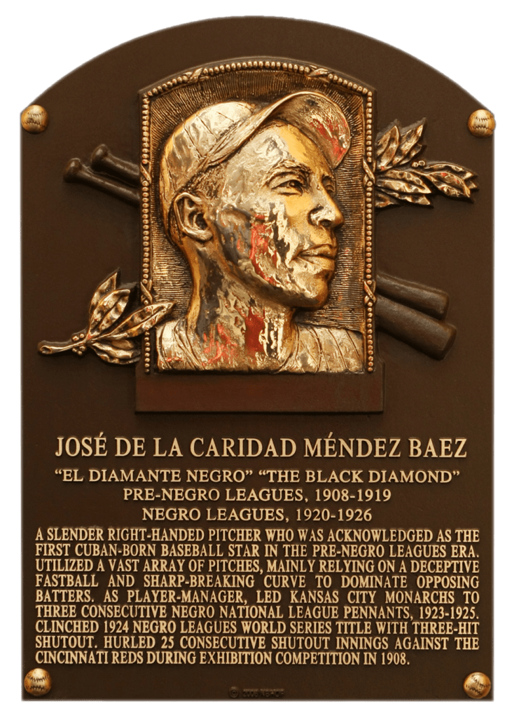Negro Leaguer Jose Mendez was elected to the Hall in 2006; his autograph is not in the collection.