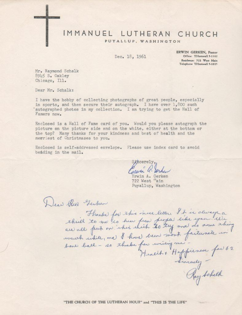 Ray Schalk signed letter from the Gerken collection