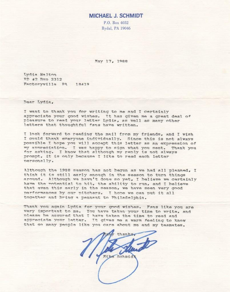 Mike Schmidt personal letter from 1988