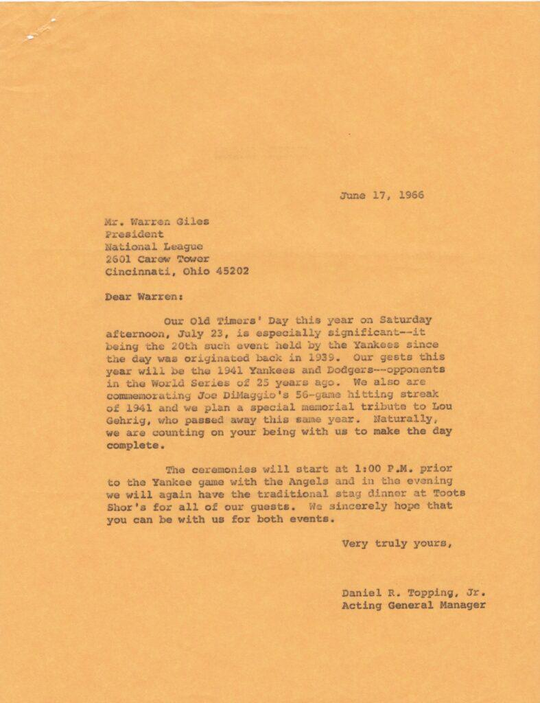 File copy of invitation to 1966 Old Timers' Day sent by Topping's son Dan Jr. to Warren Giles