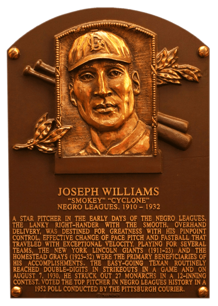Negro Leaguer Joe Williams was elected to the Hall of Fame in 1999; his autograph is not in the collection