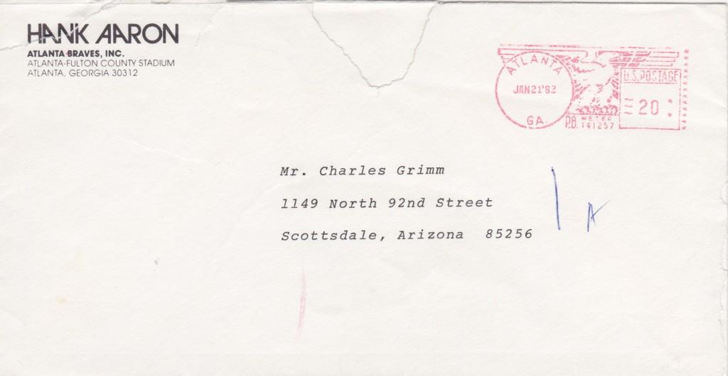 Envelope for Hank Aaron's letter to Charlie Grimm