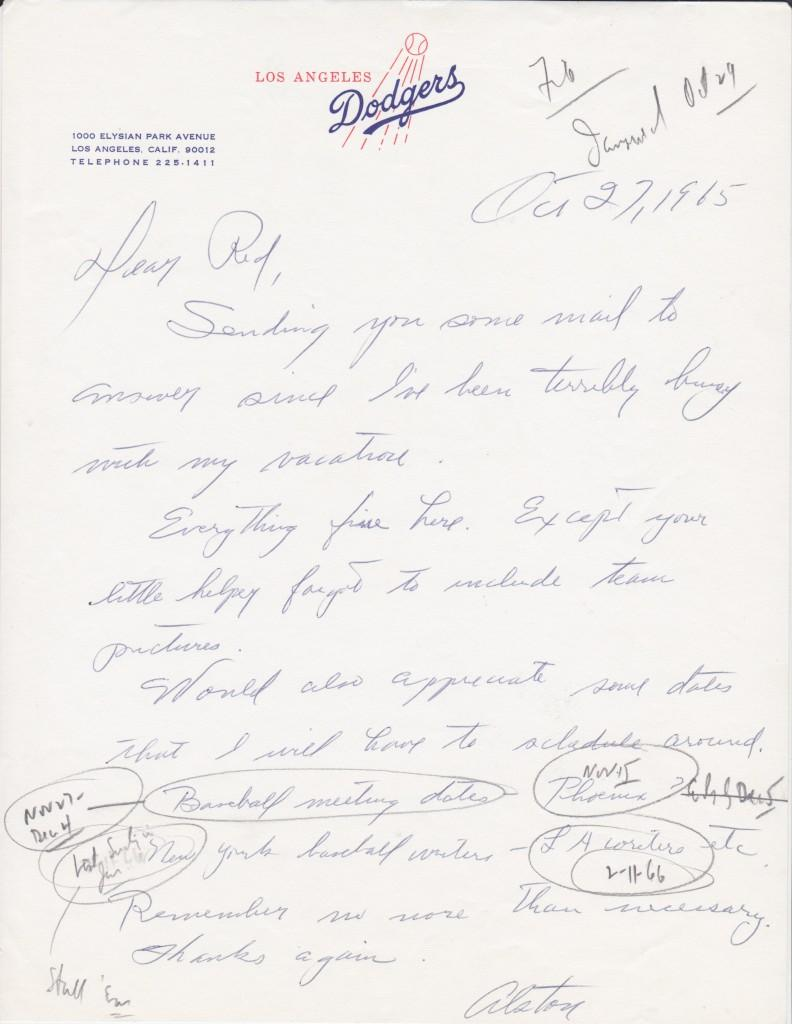 Handwritten letter from Walt Alston to Red Patterson