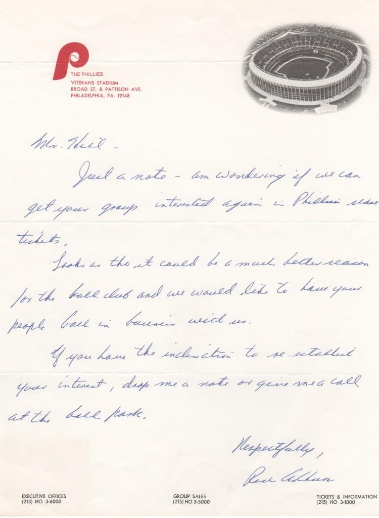Richie Ashburn handwritten letter trying to sell tickets