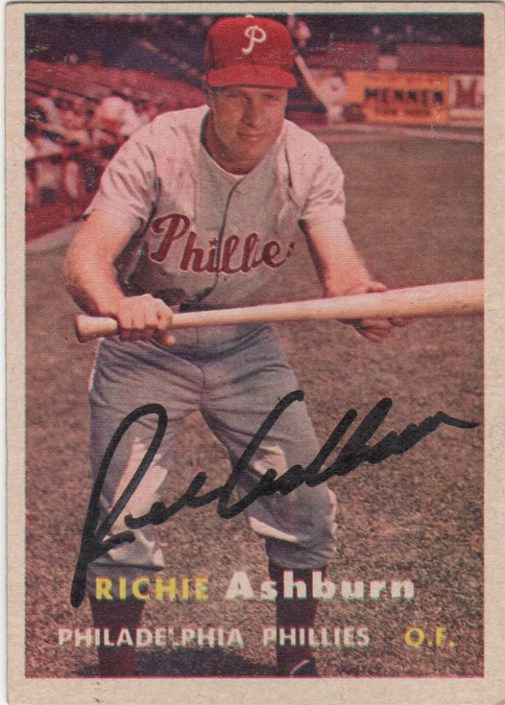 Autographed Richie Ashburn 1957 Topps