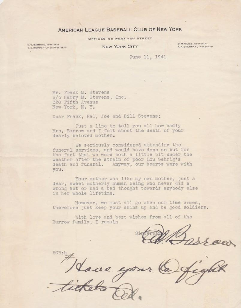 Letter written 9 days after Gehrig's death in which HoFer Ed Barrow mentions the funeral