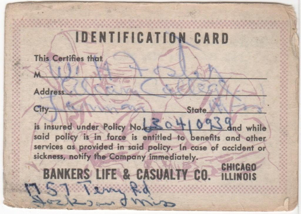 Insurance card filled out and signed by Bill Foster