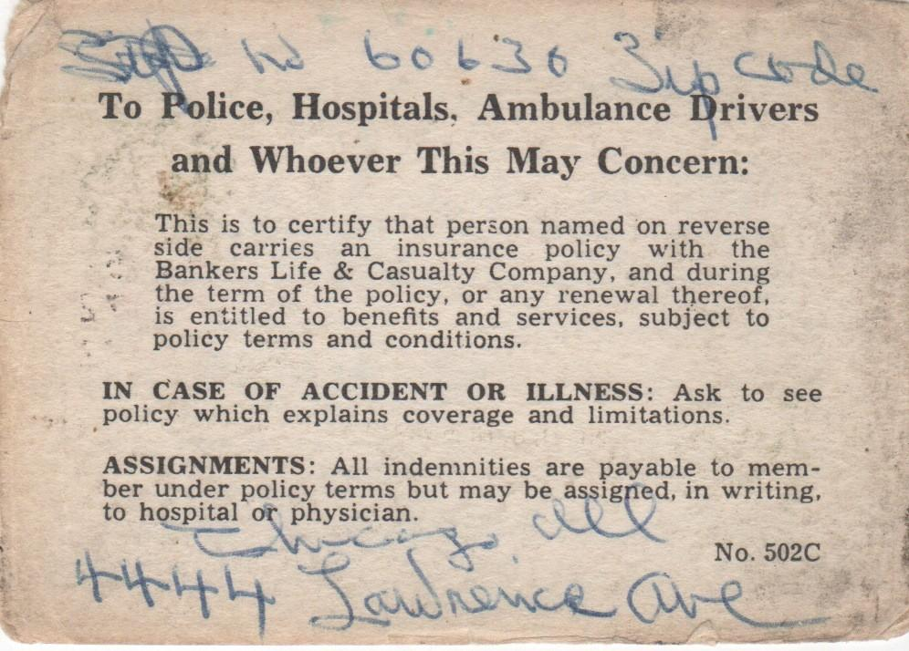 Reverse of the insurance card with more of Foster's writing