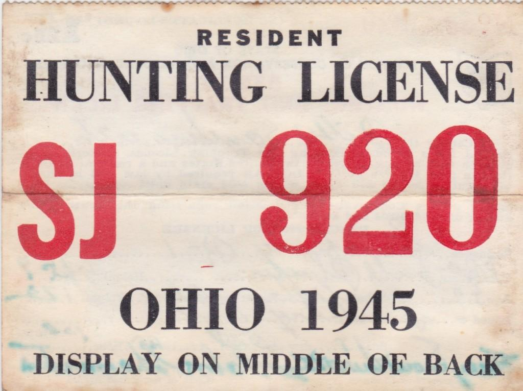 1945 Hunting license issued to HoF manager Billy Southworth