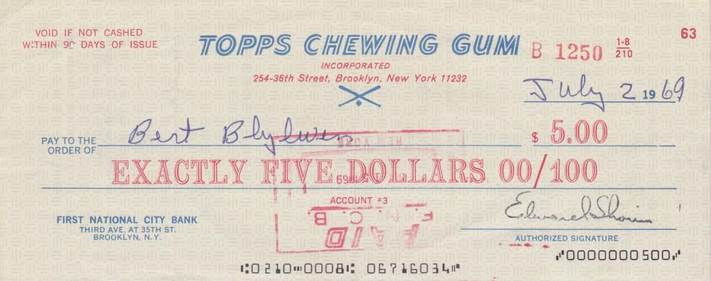 First check Bert ever received for appearing on baseball cards
