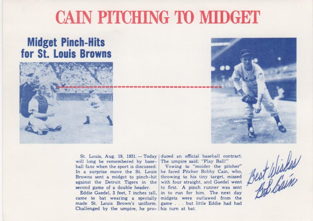 Bob Cain had the distinction of pitching to Gaedel - here's Cain's Christmas card