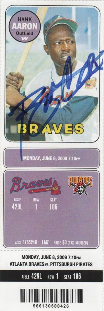 Ticket from June 8, 2009 - Bobby Cox's 2000th win as Braves skipper
