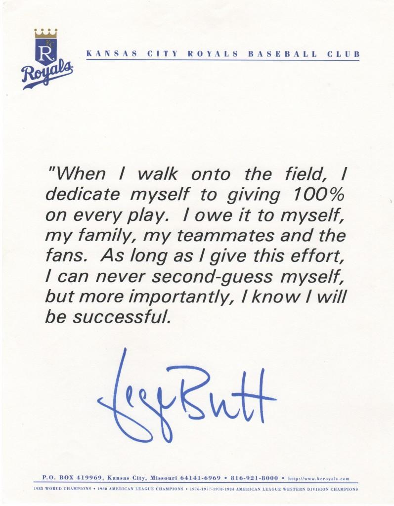 George Brett writes about dedication to the game
