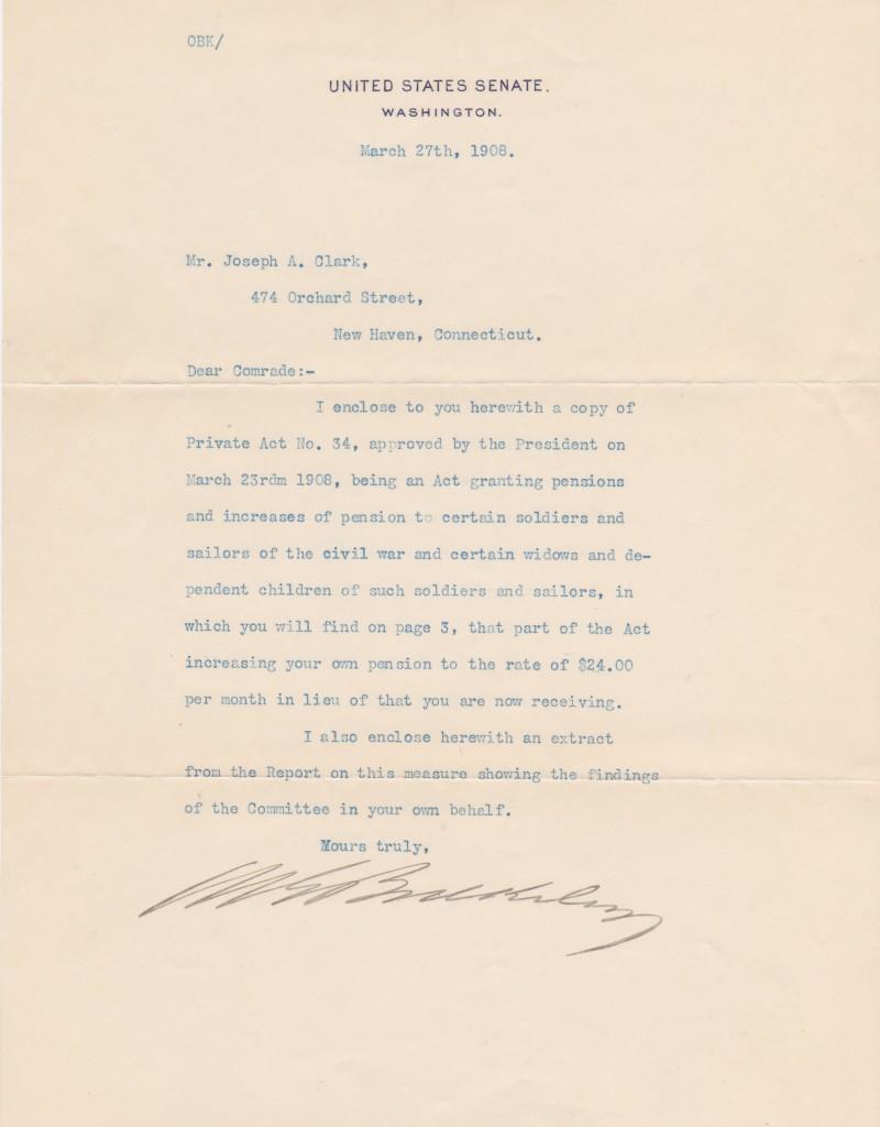 Civil War veteran and Senator Morgan Bulkeley writes about pensions for Civil War soldiers and sailors