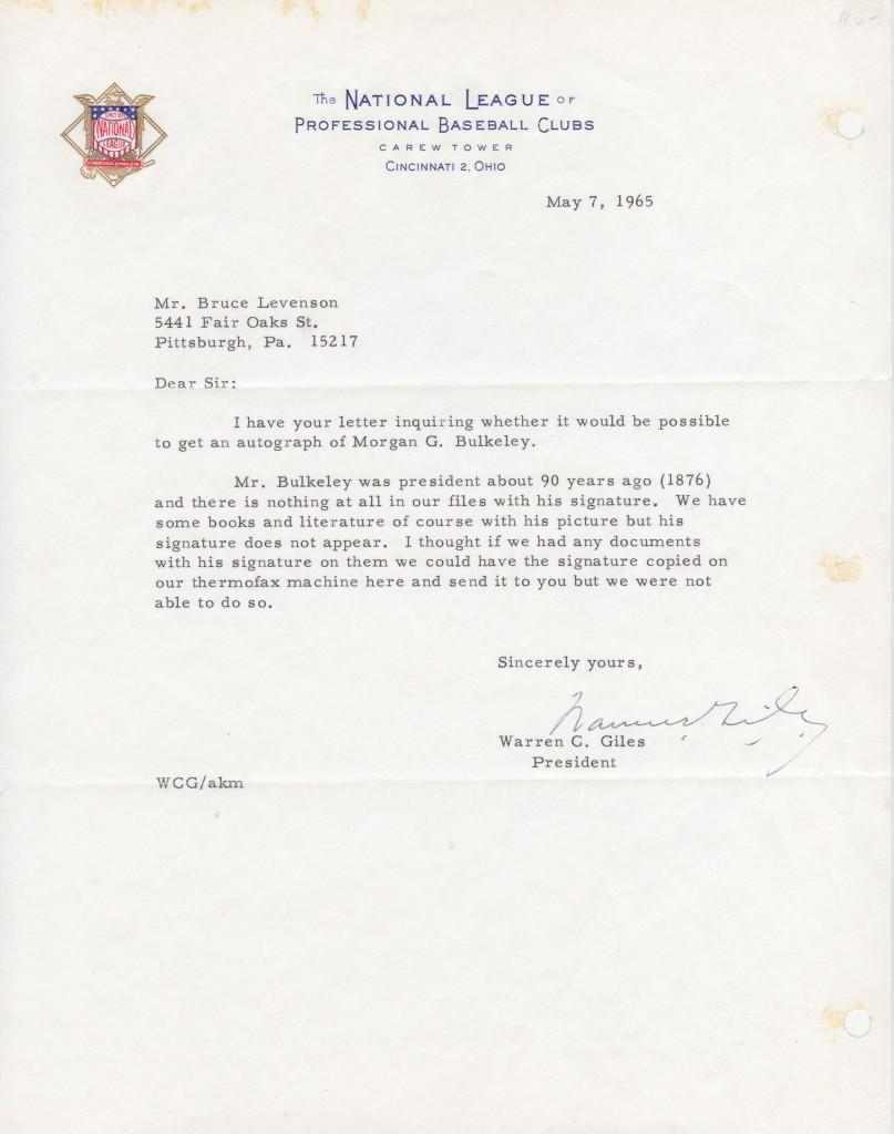 1965 National League president Warren Giles responds to autograph request of Bulkeley, the first NL president
