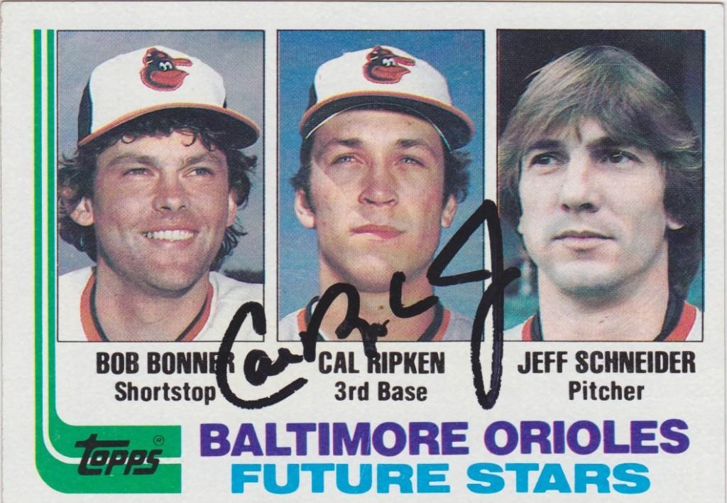 Autographed Cal Ripken 1982 Topps rookie card