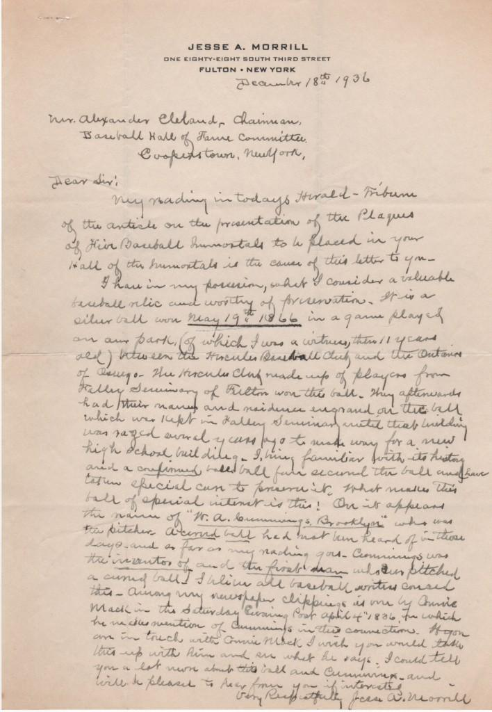 1936 letter to HoF about invention of curveball