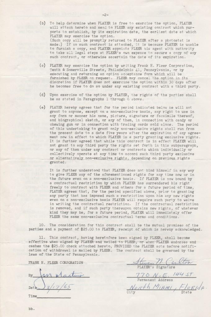 Signature page of the 1965 Fleer contract